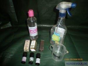 Zutaten zum mixen eines Anti-Floh-Sprays
